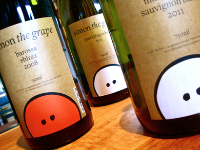 Simon the grape, wine label design