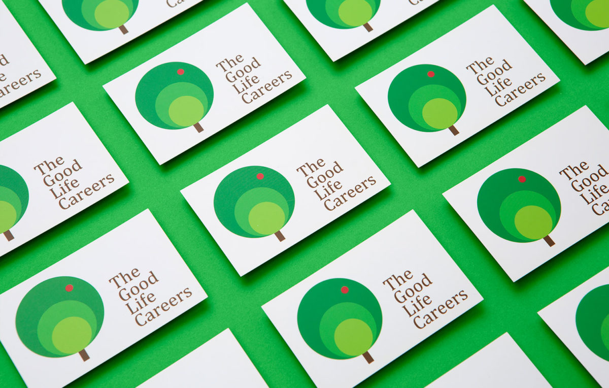 Newly re branded and redesigned business cards for the good life careers