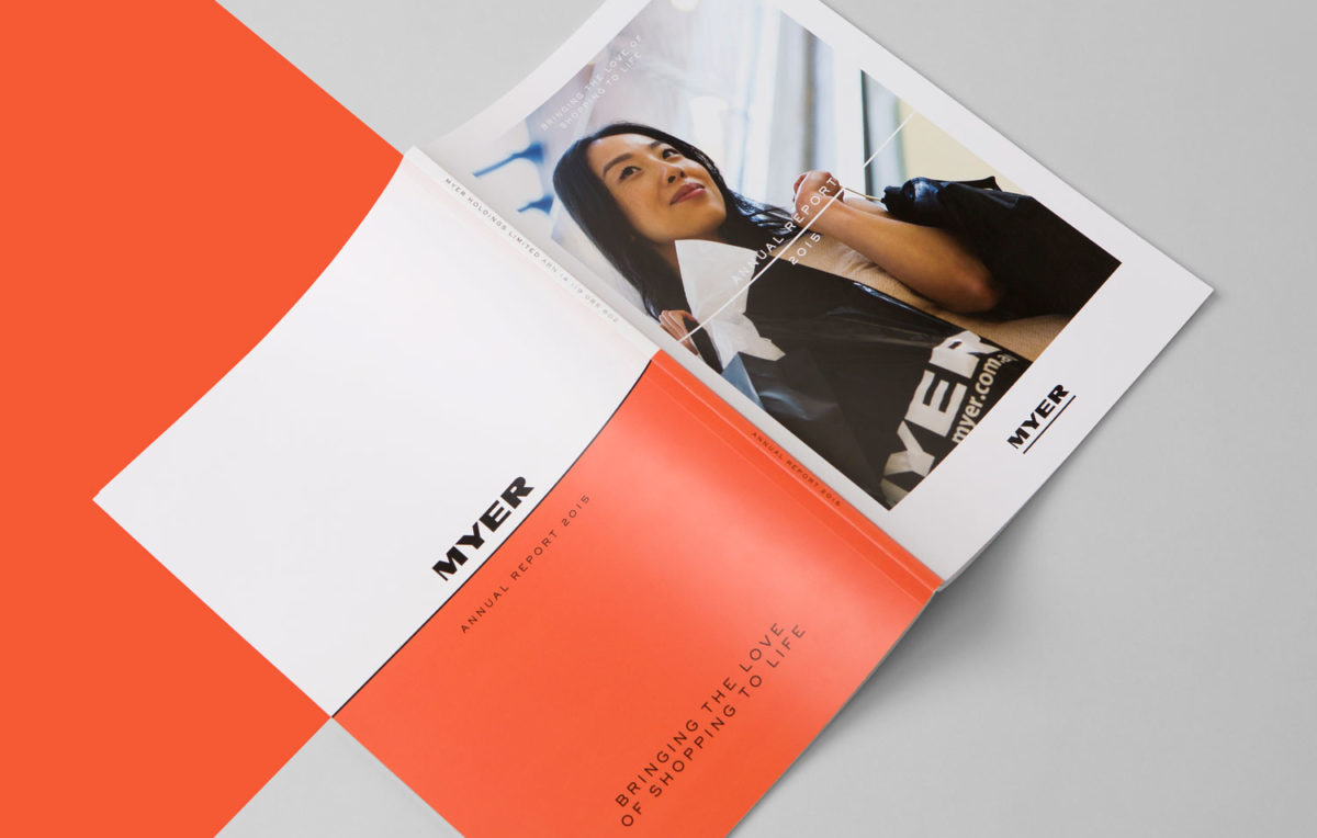 Myer annual corporate report cover design