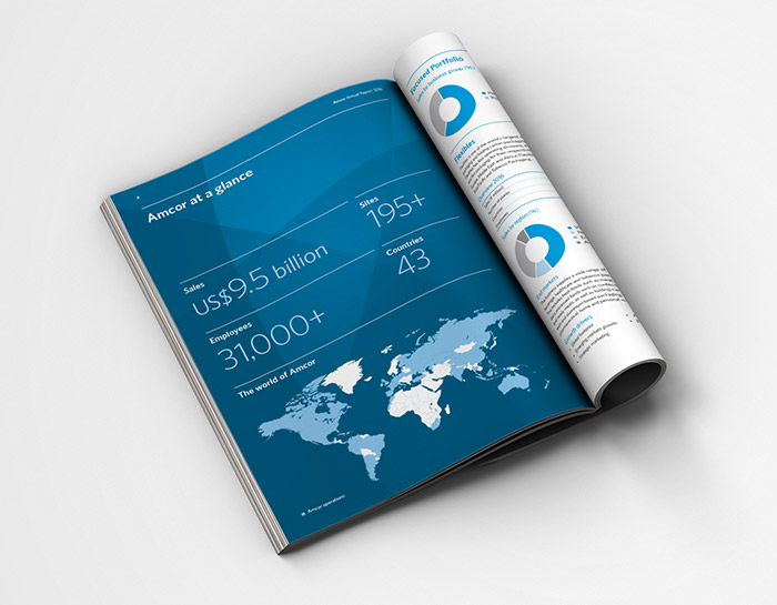 This is a spread from the Amcor Annual Report, showing large cal-out figures and a map