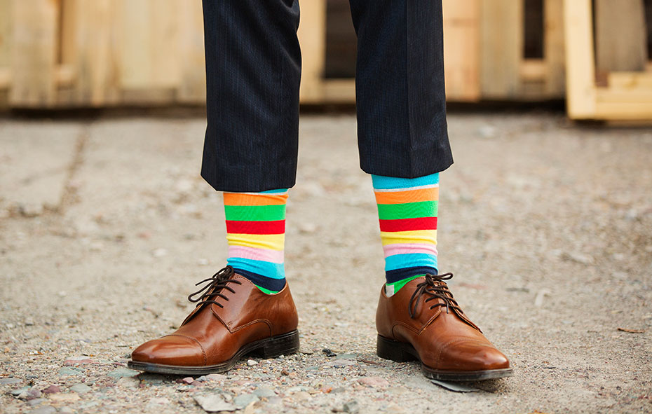 image of a man in a suit wearing fancy socks