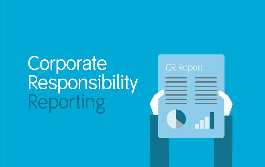 this is an illustration of a pair of hands holding a report, next to the tile corporate responsibility reporting