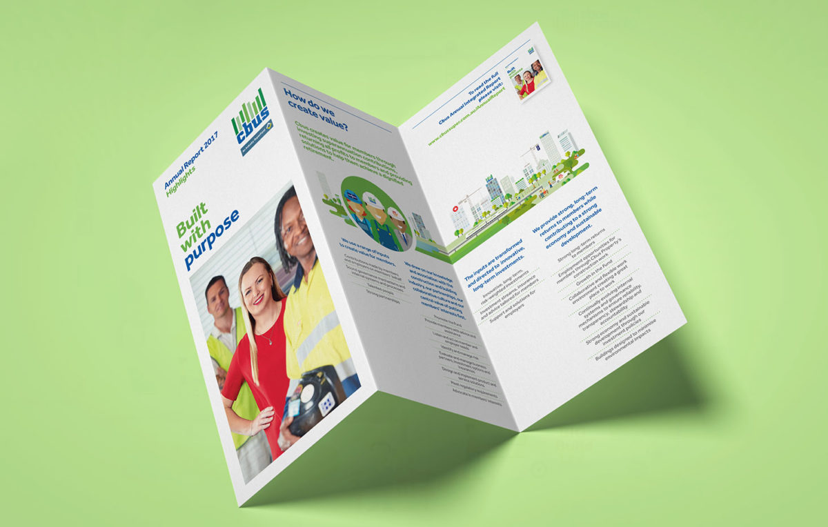 this is an image of the Cbus annual integrated report highlights flyer