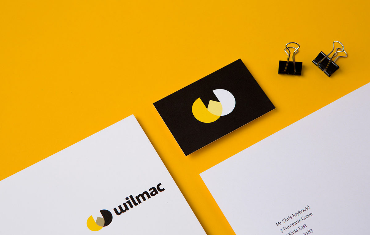 A logo and letterhead showing a newly designed logo for Wilmac