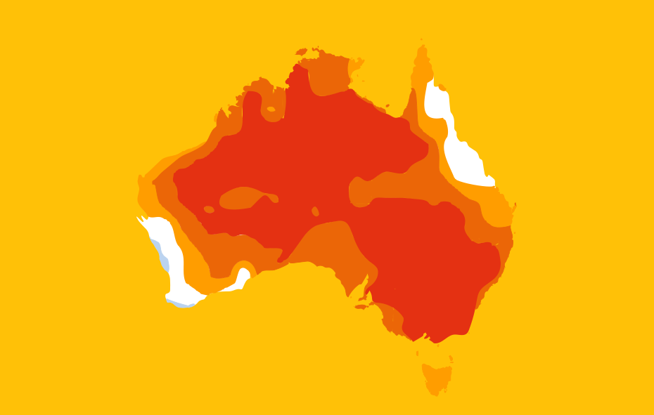 graphic of Australia showing heat map