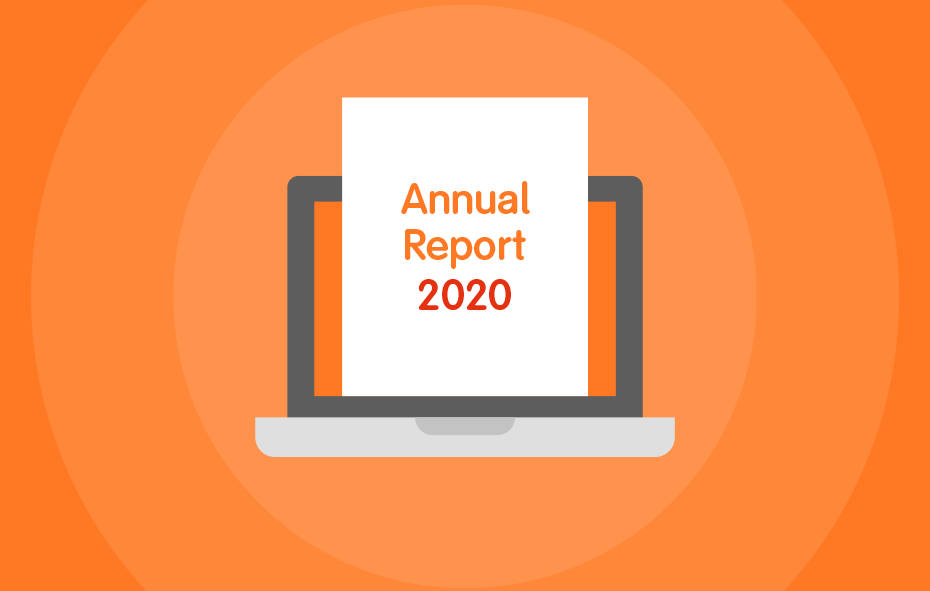 illustration of a laptop with an annual report on screen